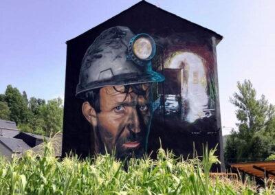 Grafiti del Minero en Igüeña | Ruta de los Grafitis en El Bierzo Alto